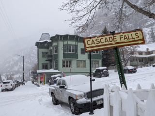 Cascade Falls Sign on Main St. & 8th Ave. Downtown Ouray
